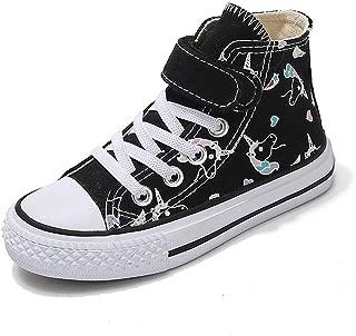 LB LAWBUCE Toddler Little Girls High Top Sneaker Unicorn Canvas Shoes