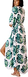 Kimono Swimsuit Cover-up. Floral Print Short Sleeve Loose Open Front Cotton Even Kimonos
