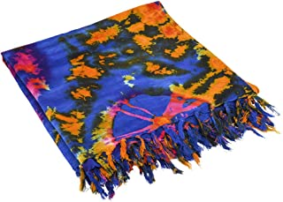 Blue and Orange Tie Dye Shawl/Sarong/Scarf (70IN by 43IN)