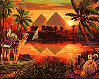 Paint by Numbers Adults and Kids Oil Painting Kit for Decorations and Gifts -Sunset Over The Egyptian Pyramids 16x20inch (40x50cm) [No Frame]