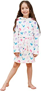 Girls Soft Flannel Fleece Bathrobe with Animals Hooded Size from 9-12M to 12-13Y - Gifts for Girls