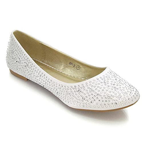 7c4d71206a3a59 ESSEX GLAM NEW WOMENS BRIDAL DIAMANTE WEDDING LADIES SPARKLY SLIP ON BRIDESMAID  SHOES PUMPS SIZE 3