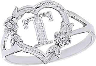 CaliRoseJewelry Silver Initial Alphabet Personalized Heart Ring - Letter T