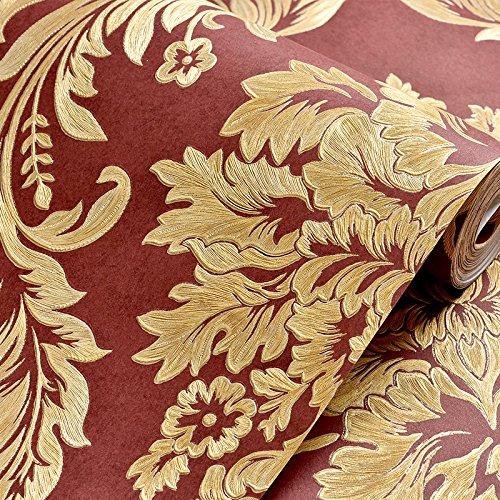 Tapeten Tapete Vlies Schlafzimmer, im europäischen Stil gelb Damaskus Wohnzimmer TV Wallpaper Hintergrund Wand Gold, Weinrot Netto drücken, nur Hintergrundbilder