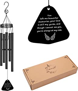 Memorial Wind Chimes for Loss of Loved One Prime Sympathy Gifts Loss of Dad Papa Father Rememberance in Memory Large Angel Metal Windchimes Outside Garden Home Déco You Left me Beautiful Memories