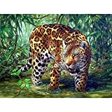 Kit completo de pintura de diamantes 5D Bricolaje diamond painting kits Rhinestone bordado cuadros de punto de cruz arte manualidades para decoración del Salon hogar Regalo Leopardo Round 40x60cm