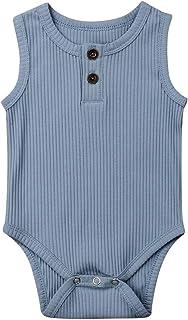 Seyurigaoka Newborn Unisex Baby Solid Onesies Basic Plain Rib Stitch Long Sleeve Bodysuit Clothes for Infant Boy Girl