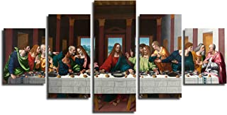The Last Supper by Leonardo Da Vinci Framed Art Canvas Print Wall Picture for Bedroom Christ Jesus Wall Art 5 Piece Painting Religious Artwork Christian Wall Decor Easter Gift(50''Wx26''H)