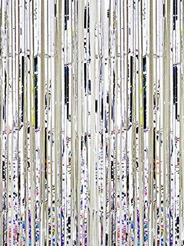Oblique-Unique® Lametta Vorhang 92x245 cm (Silber)