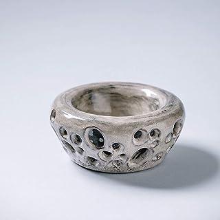 Jarrón de cerámica creativo hecho a mano con paredes dobles Decoración del hogar para flores esmalte texturizado gris