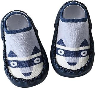 AkoMatial - Calcetines antideslizantes de algodón con diseño de zorro y búho para bebés y niñas