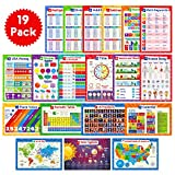 19 Educational Posters for Kids - Multiplication Chart Table, Periodic Table, USA Map, World Map, Solar...