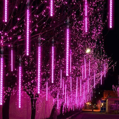Luccase 30CM LED Meteor Licht 2 Stücke Party LED Lichter Dusche Regen Schneefälle Weihnachts Lichtschläuche für Dekoration Weihnachtsbaum Garten Neujahr (Rot)