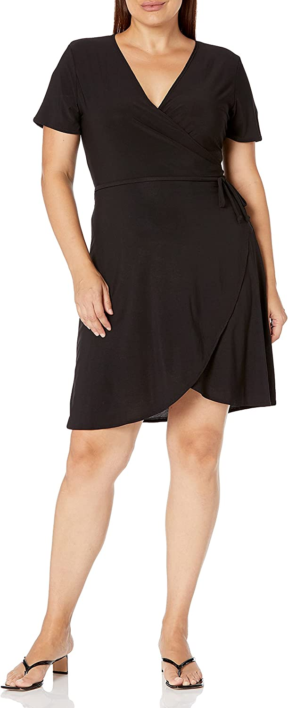 Star Vixen Women's Plus-Size Omaha Mall Short-Sleeve Dress Popular shop is the lowest price challenge Wrap Ballerina