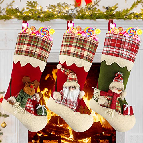 Dreampark Christmas Stockings, 3 Pcs Classic Plaid Xmas Stockings - 18 Big Size Santa Snowman Reindeer for Home Christmas Decorations and Kids Gifts