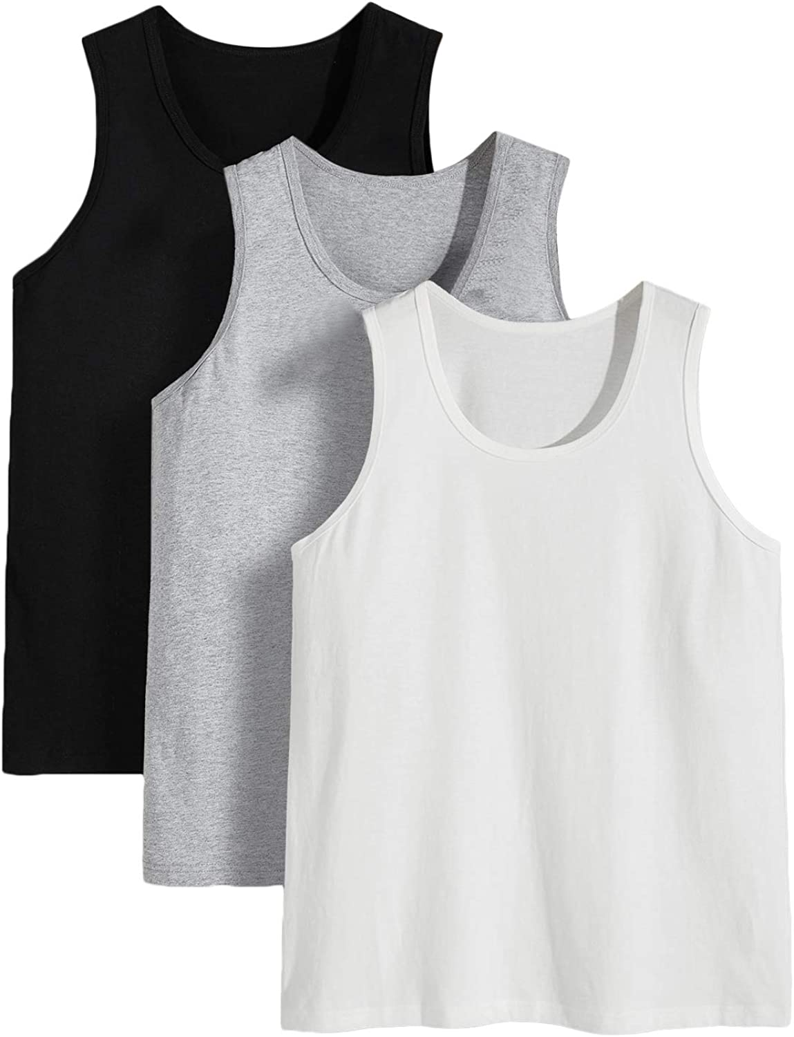 Romwe Men's 3 Max 86% OFF Pack Bargain Classic Workout Undershirts Muscle S Top Tank