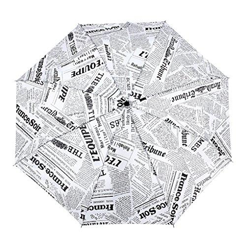 FakeFace® Polyester Regenschirm Sonnenschirm Kompaktschirm Zeitung Muster 3 Stufen Faltbarer UV-Schutz Auf-Zu-Automatik Schirm für Outdoor Camping (Weiß)
