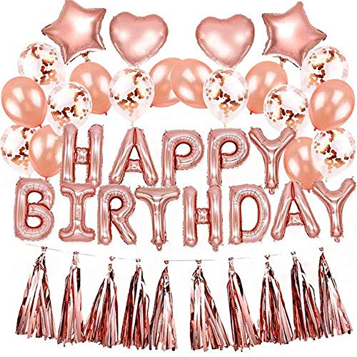 B-Creative Globos de cumpleaños de oro rosa, juego de 48 piezas prerellenados, globos de látex con forma de confeti para cumpleaños, banderines, borlas, guirnaldas, globos con forma de corazón y estrellas, suministros para fiestas para niñas y mujeres