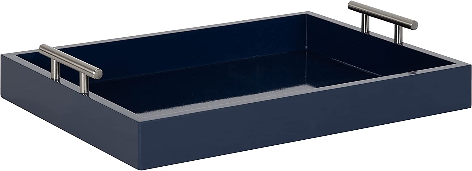 Kate and Laurel Lipton Modern Rectangular Tray, 16 x 12.25, Navy Blue and Silver, Decorative Accent Tray for Storage and Display