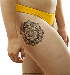 2 x Mandala XL tattoo - zwarte bloemenmandala met bladeren en vormen - Temporary Body Tattoo - KM022 (2)