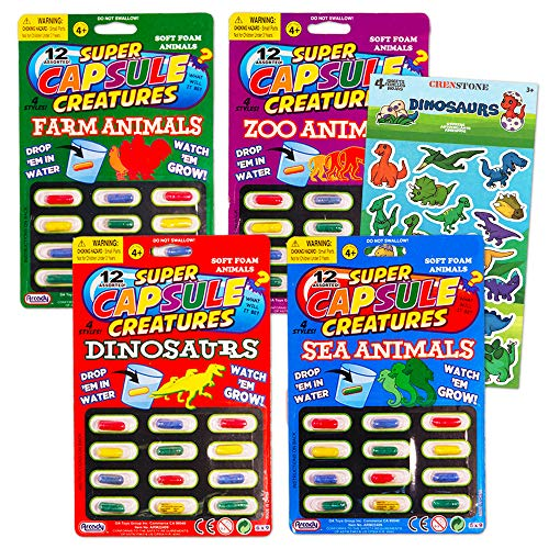 Grow In Water Toys Party Favor Set -- 48 Animal Capsule Creatures (Includes Zoo Animals, Sea Animals, Dinosaurs and Farm Animals)