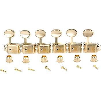 Oro Musiclily 6 en l/ínea Estilo Semicerrado Clavijas de Afinaci/ón Clavijero de Repuesto para Guitarra Estilo de ST Squier