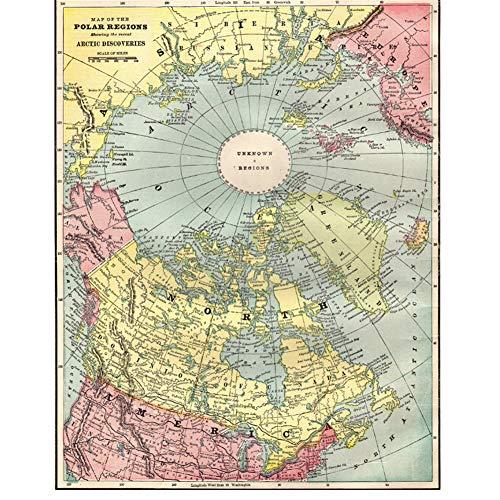 ad Mapa Antiguo del Polo Norte del Ártico Geografía Aprendizaje Decoración del hogar Sala de Estar Bar Café Textura Delicada Imprimir Etiqueta de la pared-60x80cm Sin Marco