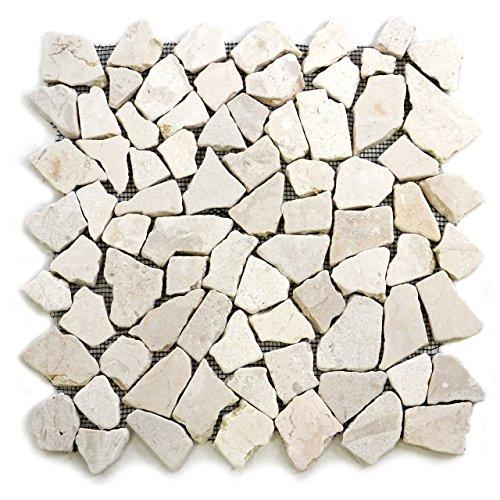 Divero 9 Fliesenmatten aus Naturstein Marmor Bruchsteinmosaik Wand und Boden cremeweiß á 35 x 35 cm