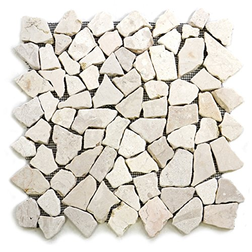 Divero 9 Matten 33 x 33cm Marmor Naturstein-Mosaik Fliesen für Wand Boden Bruchstein creme