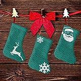 FULIYA (3 paquetes) calcetines de Navidad de 19 cm, formas abstractas vívidas sobre fondo marrón, azulejos de colores contrastantes, decoraciones de fiesta de Navidad