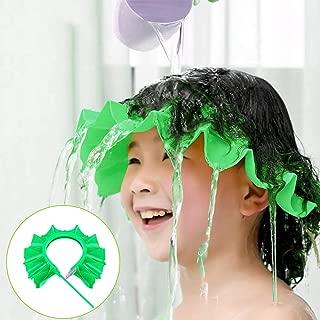 Baby Shower Cap, Shampoo Cap Adjustable Visor Bathing Protection Hat Funny Safety Shield for Children Kids Toddler Infants (Green)