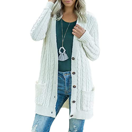 bdc5c9b975 BMJL Women s Chunky Knit Long Aran Cardigan with 2 Pockets Loose Knitwear  Oversized Sweater