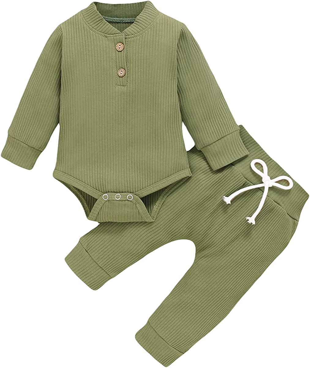 Newborn Infant Baby Boy Girl Solid Color Outfit Button Ribbed Cotton Long Sleeve Romper Autumn Winter Pants Set
