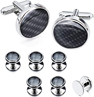 Mens Carbon Fiber Cuff Links and Shirt Studs for Tuxedo Wedding Business - Black, Blue, Yellow, Pink