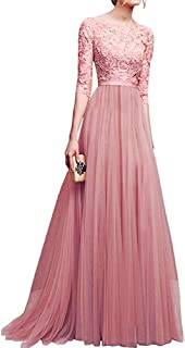 Womens Vintage Lace Bridesmaid Long Dresses Prom Evening Cocktail 3/4 Sleeves Tulle Floral Retro Maxi Gowns