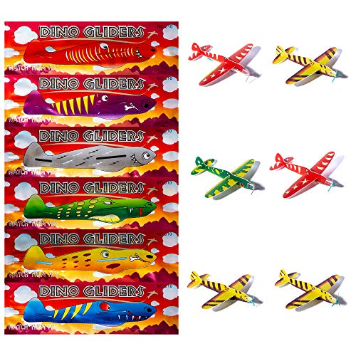 Pack of 12 Dinosaur Flying Glider Planes Kids Gift-Party Loot Bag Stocking Fillers Fun