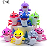 SIENON Shark Cake Toppers-8Pcs Shark Birthday Cake Toppers with Bright Colors