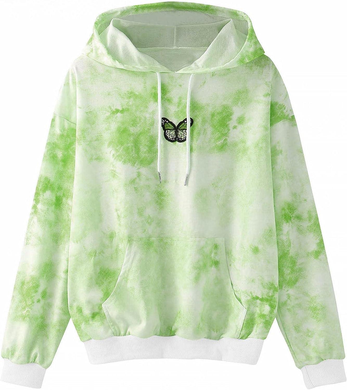 ONHUON Womens Hoodies Pullover Warm,Women's Casual Butterfly Printed Tops Long Sleeve Drawstring Sweatshirts Tucnic