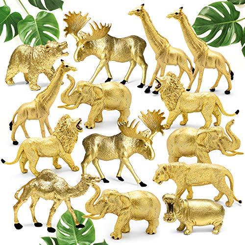 Shopperals 14 Jumbo Metallic Gold Plastic Safari Animal Set - Different Varieties of Zoo Animals  3 Elephant 3 Giraffe 2 Lion 2 Elk 1 Tiger 1 Hippo 1 Bear 1 Camel  4-6 Inches  with Bonus Storage Bag.