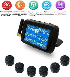 Waroomss Sistema de Monitoreo de Presi/ón de Neum/áticos Inal/ámbrico Solar para Camiones de 6 Ruedas TPMS 6 Sensores Externos Bater/ía Reemplazable Pantalla LCD