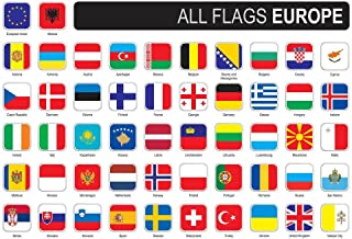 Square Flags of Europe Art Print Laminated Dry Erase Sign Poster 18x12