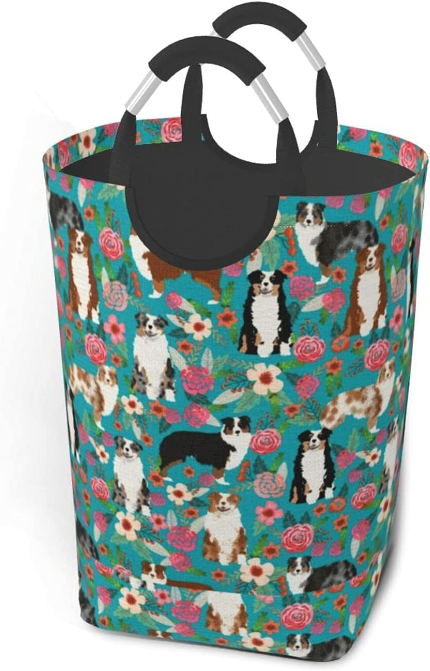 Australian Shepherd Dog Flowers Collapsible With Laundry Finally resale 67% OFF of fixed price start Basket