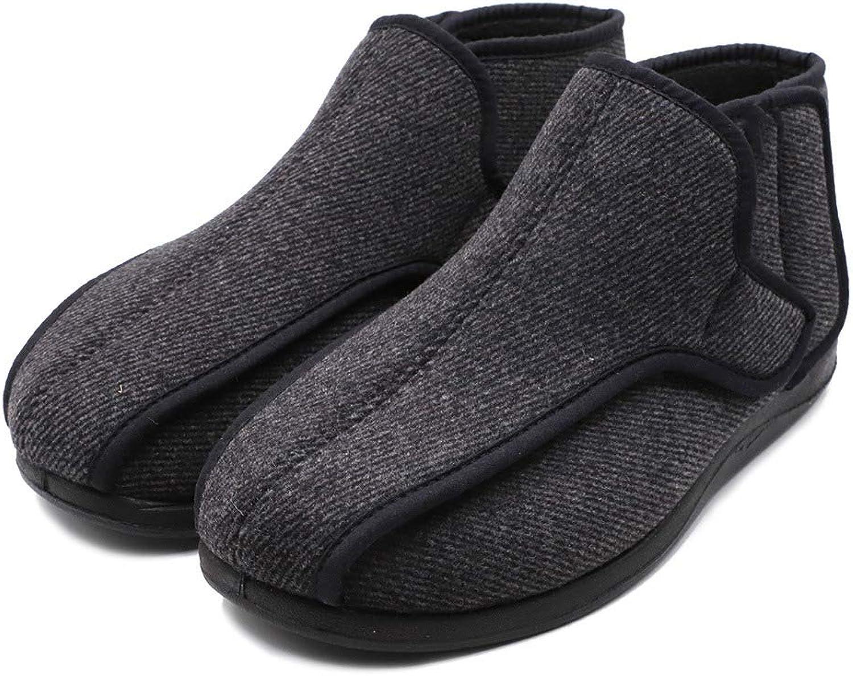 Rong Men's Extra Wide Diabetic Edema shoes Adjustable Boots Roomy Booties Fit for Swollen Feet Elderly