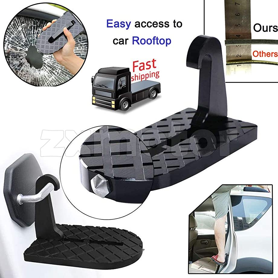ZAIXU Folding Car Doorstep Vehicle Hooked on U Shaped Slam Latch Safety Hammer Function for Easy Access to Rooftop Roof-Rack Vehicle Door Step Up Pedal for Car Jeep SUV