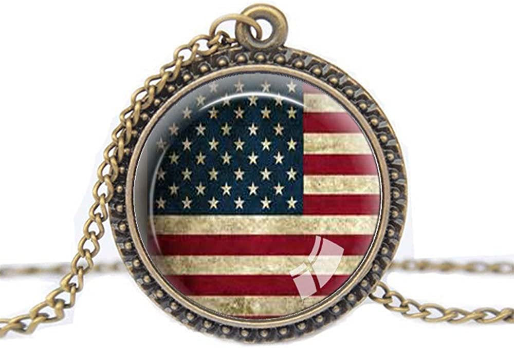 FM FM42 USA National Flag Round Pendant Necklace with 26