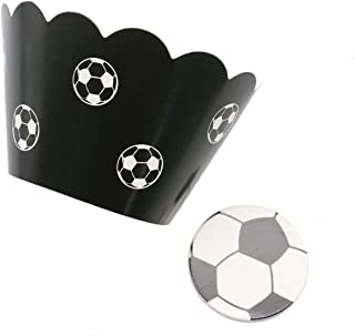 JETEHO 36 Pcs Soccer Football Cupcake Wrappers and Toppers Kit Cake Decoration for Birthday Wedding Beach Party