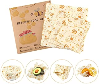 Reusable Beeswax Wraps, 3 Pcs Eco Friendly Food Storage Wraps, Washable & Plastic Free Natural Bowl Covers Paper, Biodegradable Bread Sandwich Bee Coconut Ziplock Bags Wraps(Large, Medium, Small)