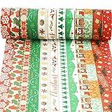 HOWAF 12 Rollos de Cinta Adhesiva Navidad Washi Tape Cinta Adhesiva Decorativas para Manualidades y artesanía, Scrapbooking, DIY