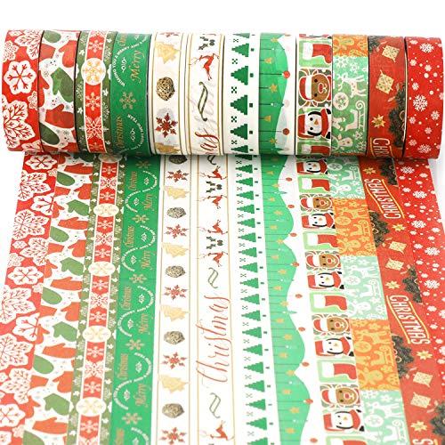 HOWAF 12 Noël Washi Tape Rouleaux de Ruban adhésif décoratif Masking Tape Noël pour Scrapbooking Artisanat de Bricolage Fournitures de fête Noël Cadeaux Emballage Décoration