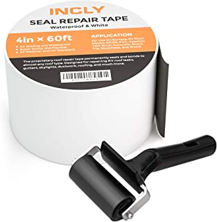 Incly 4 Inch x 60ft WaterproofRV Putty Tape Sealing Butyl Roof Sealant Rubber Tape for Repair Leak Window, Chimney, Boat, Vent, Pipe With Rubber Roller